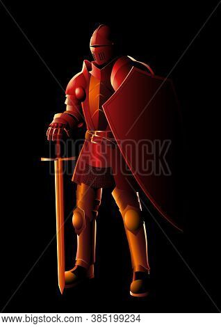 Vector Illustration Of A Medieval Knight In Armor With Sword And Shield, Preparation, Protection, Pr