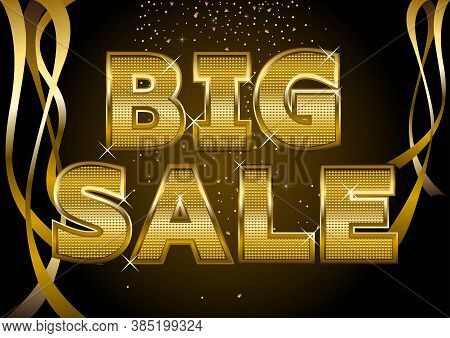 Big Sale Gold Font Type With Ribbon Decoration