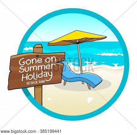 Vector Illustration Of Beach Chair And Umbrella On The Beach, For Summer Holiday Sign