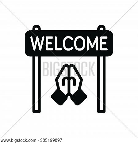Black Solid Icon For Welcome Acceptance Reception Praise Compliment Acclamation Greeting Reception