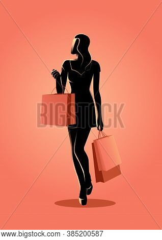 Vector Illustration Of A Woman With Shopping Bags