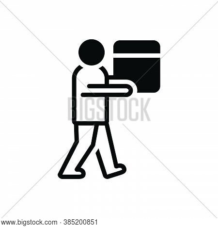 Black Solid Icon For Carry Tote Put-across Goods Packing Human Burden Load Stowage Heavy