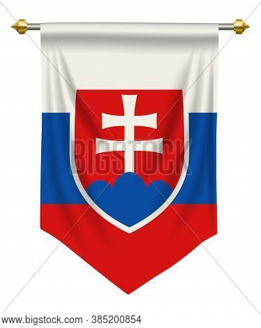 Slovakia Flag Or Pennant Isolated On White