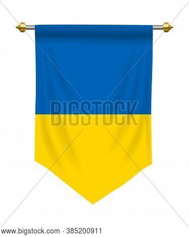 Ukraine Flag Or Pennant Isolated On White