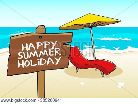 Vector Illustration Of Beach Chair And Umbrella On The Beach, For Summer Holiday Theme And Backgroun