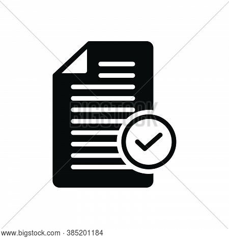 Black Solid Icon For Okay Document Register Acceptance Approval Tick Checkmark Checkbox Survey Accep