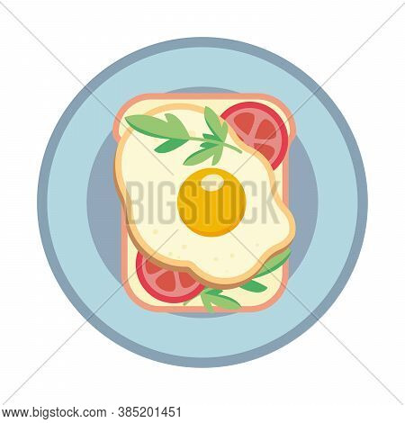 Sandwich With Fried Egg And Tomato. Sandwich On A Plate. Vector Illustration.