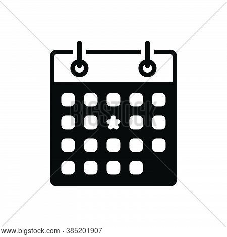 Black Solid Icon For Importance Weightage Usefulness Priority Weekly Once-a-week Calendar Publicatio