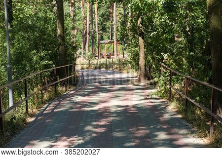 Curved Path Paved With Stone Slabs In Summer Park With Railings And Trees On Both Sides And Wooden G