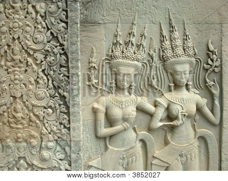 Cambodian Dancers Carved In Temple At Angkor Wat