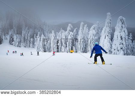 Beautiful Snow Covered Trees And Fantastic Winter Ski Resort. Active Skiers And Snowboarders Skiing