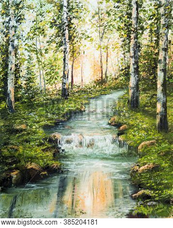 Original  Oil Painting Of Beautiful Birch Forest,mountains  And River  On Canvas.modern Impressionis