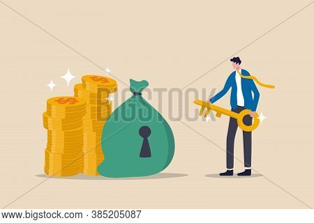 Financial Key Success, Safe Haven For Investment Or Wealth Manager To Manage Money Concept, Success