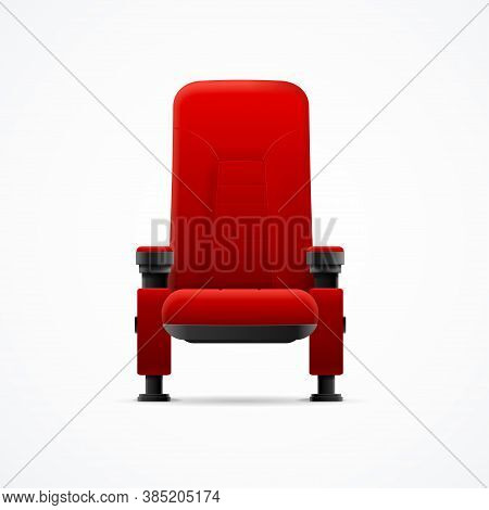 Realistic Detailed 3d Classic Comfortable Velvet Red Cinema Chair Element Indoor Interior. Vector Il