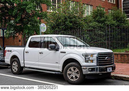 Philadelphia, Pennsylvania, Usa - June 17, 2019: White Ford Truck Pickup Parked On The Side Of The S