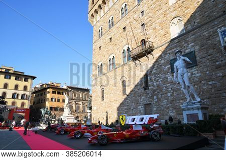 Florence, September 2020: Historic Ferrari F1 Cars On Display During The Ferrari 1000 Gp Show In Pia