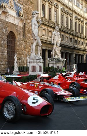 Florence, September 2020: Ferrari 500 F2 F1 Of Year 1952 And Other Historic F1 Cars On Display Durin