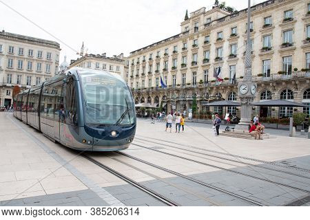 Bordeaux, Aquitaine / France - 06 11 2018 : City Street Scene With Tramway And Grand Hotel In Bordea