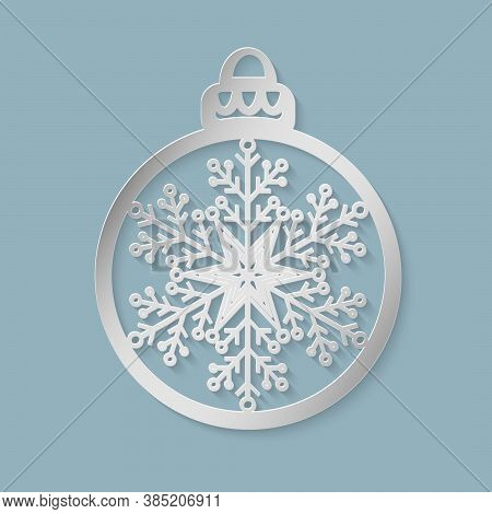 Christmas Ball With A Snowflake Cut Out Of Paper. Template For Posters, Invitations For Christmas Pa