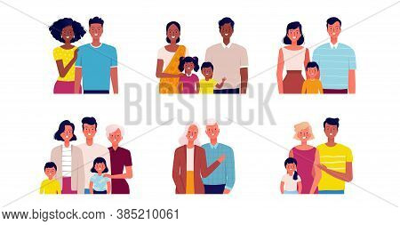 Different Families Set. People Of Different Ages And Nationalities. Families Young And Old, With And