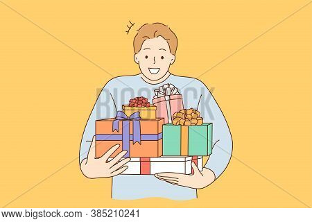 Holiday, Gift, Celebration Concept. Young Happy Cheerful Smiling Excited Man Guy Boy Cartoon Charact