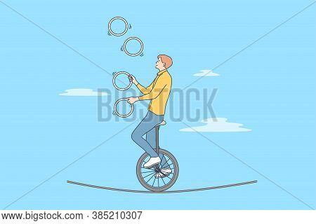 Perfomance, Sport, Art, Acrobatics, Air Concept. Young Professional Man Guy Boy Acrobat Athlete Jugg