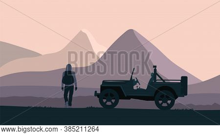 Silhouette Of A Suv Car And A Man With A Backpack On The Background Of An Abstract Mountain Landscap