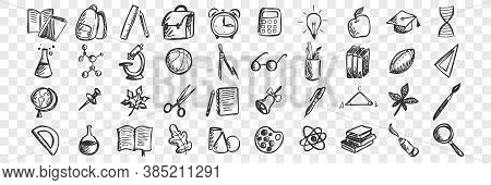 School Doodle Set. Collection Of Hand Drawn Sketches Patterns Templates Of Classroom Equipment Books
