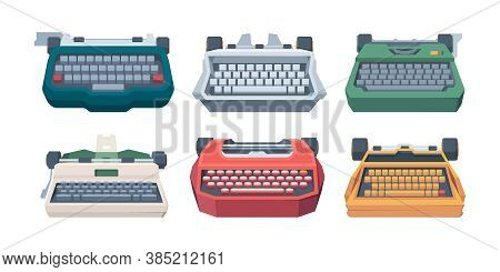 Retro Typewriting. Type Keyboard Letter Old Machines For Writers Vector Illustration. Publishing Equ