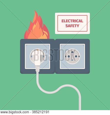 Damaged Electric Socket. Fire On Electricity Plug Big Overload Voltage Burning Wall Socket Vector Co