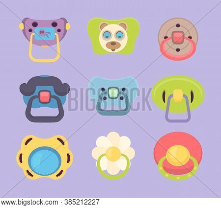 Baby Pacifier. Funny Colored Rubber Silicone Pacifiers For Children Mouth Vector Cartoon Illustratio