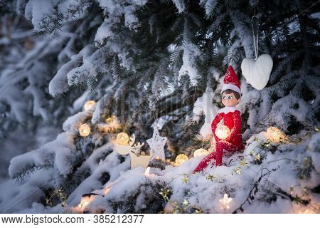 A Cute Christmas Toy Sits On A Snow-covered Fluffy Tree In The Forest. An Evergreen Tree Decorated W