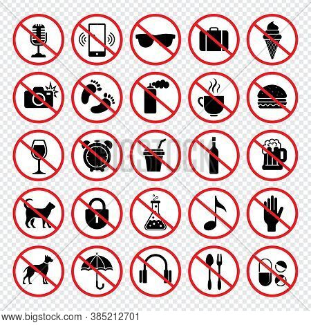 Prohibiting Signs. Forbidden Eating Guns Animals Mobile Phones Eat Child No Vector Signs Collection.