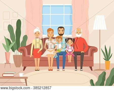Big Family. Mother Father Kids And Grandparents Happy Characters Smiling Faces Sitting In Living Roo