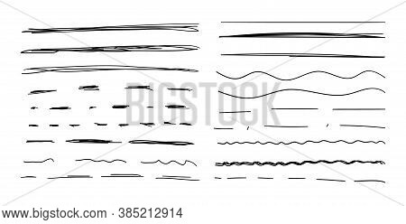Vector Set Of Hand Drawn Lines, Black Drawings Isolated On White Background, Brush Stokes, Lines Col