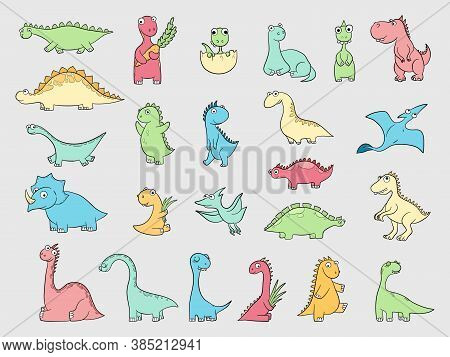 Funny Dinosaurs. Ancient Angry Animals Wild Dinosaurs Dragons Reptiles Vector Illustration. Dinosaur