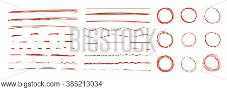 Vector Set Of Red Colorful Underline Strokes And Circles, Hand Drawn Design Elements, Correction Mar