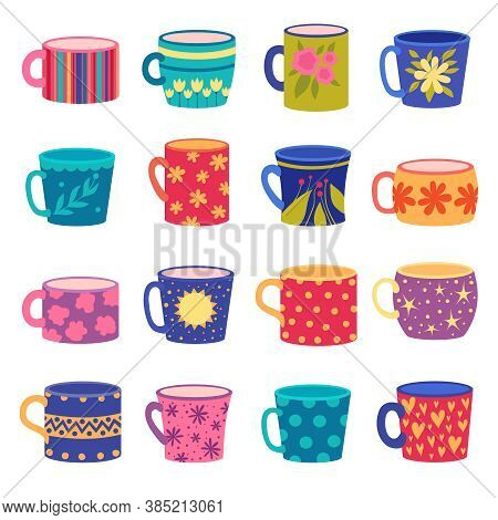 Ornaments Cup. Trendy Handy Crafted Colored Cups With Floral And Geometrical Textures Drawn Vector S