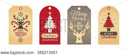 Merry Christmas Badges. Cloth Labels, Handcraft Gift Tags. Holiday Cartboard Winter Decoration Eleme