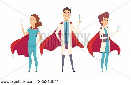 Medical Superheroes Team. Doctors Wear Hero Capes, Nurse Therapist Hospital Staff. Virus Protection,