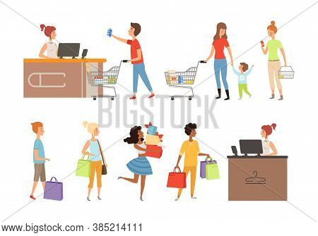 People Queue. Grocery Store Customers, Apparel Shop Or Mall Shoppers Vector Illustration. Queue Cust