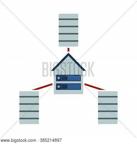 Datacenter Icon. Flat Color Design. Vector Illustration.