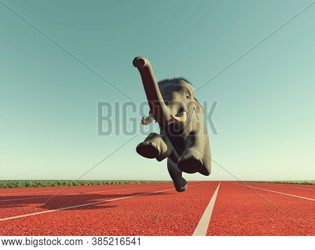 Elephant Jogging On Running Track . This Is A 3d Render Illustration .