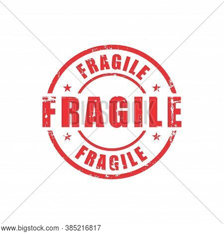 Fragile Text Stamp. Fragile Round Grunge Sign. Stamp Fragile Grunge, Typeset Typography, Grungy Docu