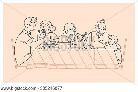 Family At The Table Portrait. Happy Parents, Grandparents And Children Having Dinner Together, Chatt