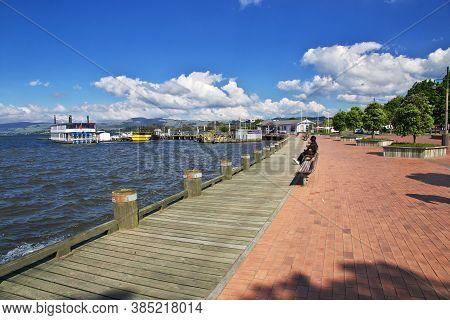 Rotorua / New Zealand - 17 Dec 2018: Lake In Rotorua, New Zealand