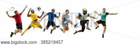Sport Collage Of Professional Athletes Or Players Isolated On White Background, Flyer. Made Of Diffe