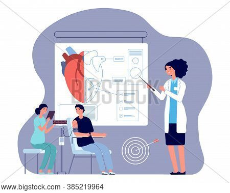 Cardiologist Doctor. Heart Check Up, Medical Examination Or Prepare To Operation. Man Pressure Measu