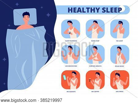 Healthy Sleep. Tips For Well Sleeping, Infographic Of Good Night Relaxation. Bedtime Rules Or Tips,