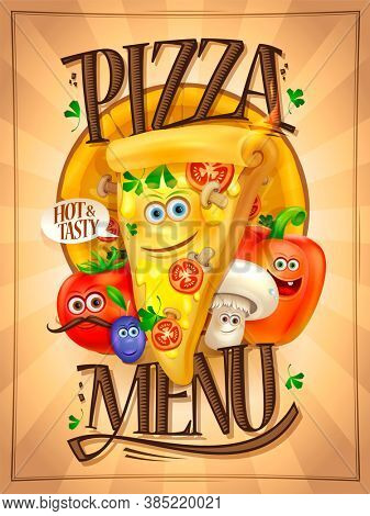 Pizza menu cover with cartoon personages - alive pizza slice and vegetables, rasterized version